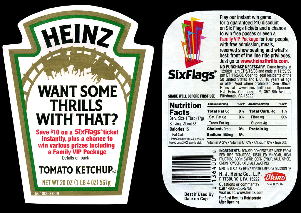 Heinz Tomato Ketchup Label Six Flags Want Some Thrills W