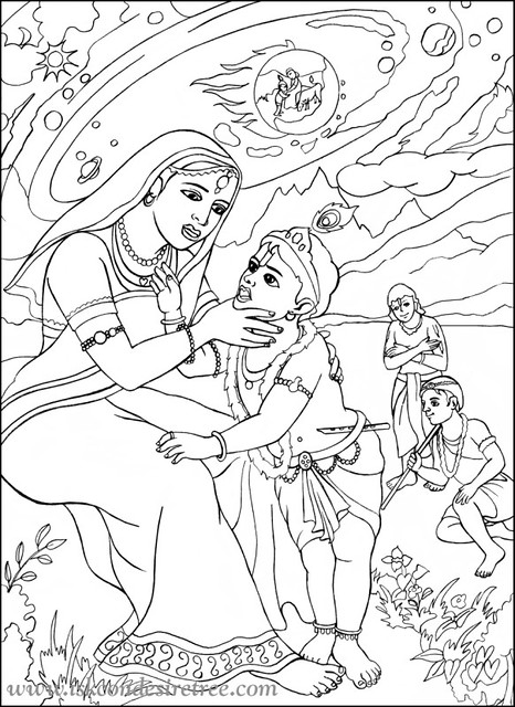 Iskcon Desire Tree Colouring Mata Yashoda And Krishna Po