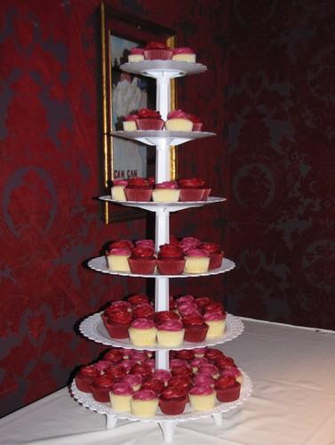 Red And Fuchsia Wedding Cupcake Tower Wedding Cupcake