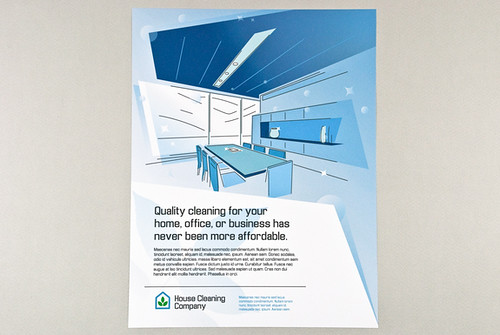 blue graphic home and office cleaning flyer