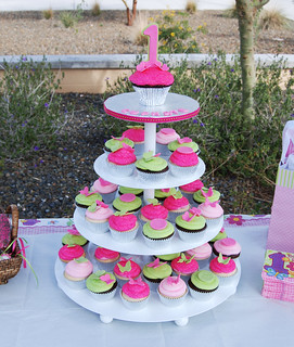pink and green first birthday cupcake tower | by Sweet Shoppe Mom and Simply Sweets