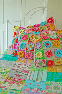 crochet pillows and quilted blanket... | by rose hip...