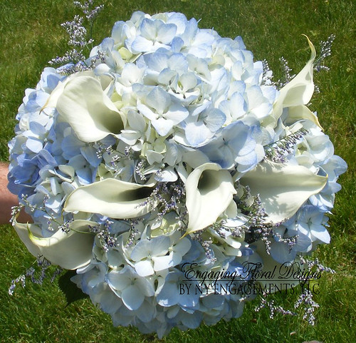 Bridal Bouquets Calla Lilies And Hydrangeas : Bridal bouquet of blue hydrangeas white calla lilies and