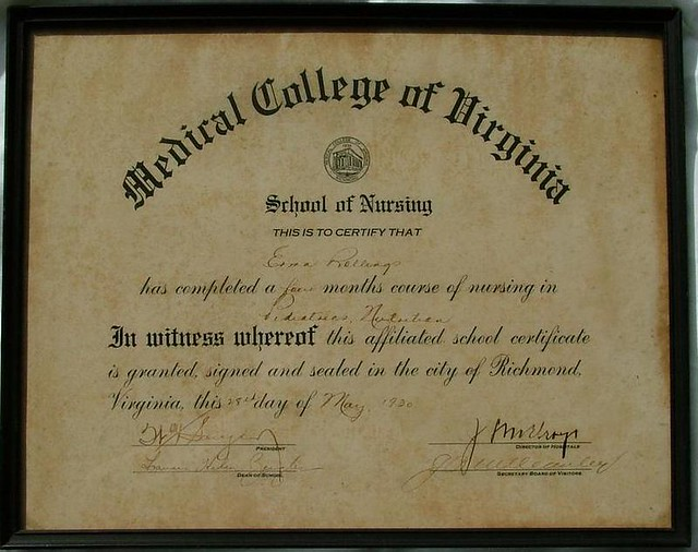 Medical College of Virginia School of Nursing Certificate – Medical Certificate for School