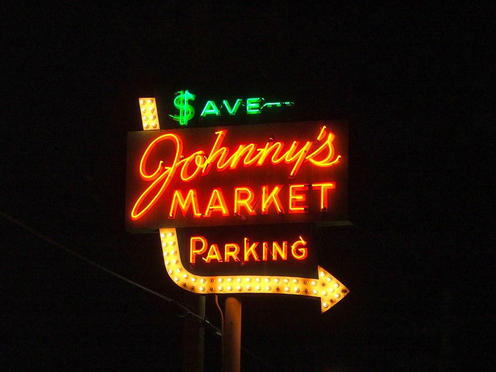 Neon sign johnny 39 s super market sappington mo 1 for Johnny s fish market