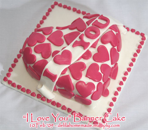 I Love You Banner Cake Got the model from wilton :) Made ...