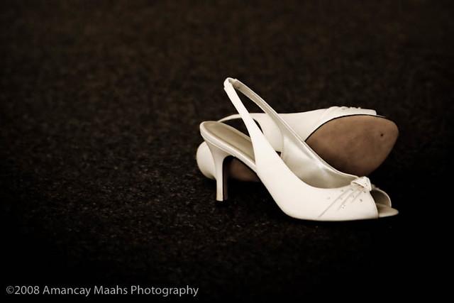 White Bridal Shoes Medium Heel