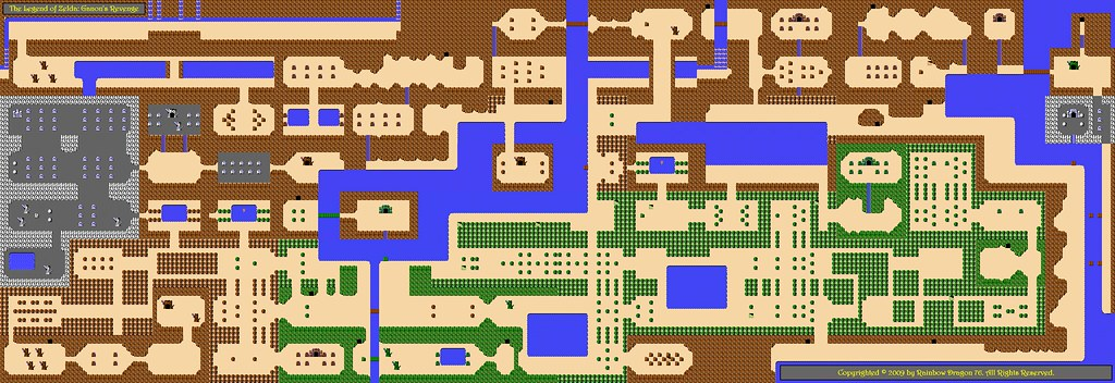 Overworld Map of The Legend of Zelda: Ganon's Revenge