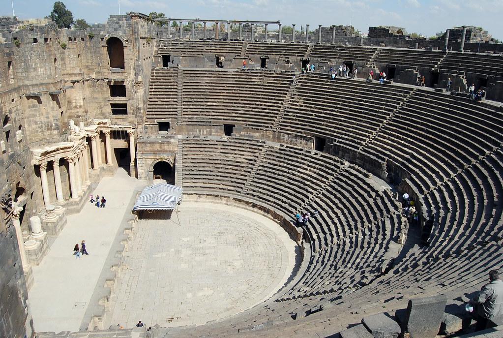 The Cavea Of The Roman Theatre In Bosra Bosra Arabic