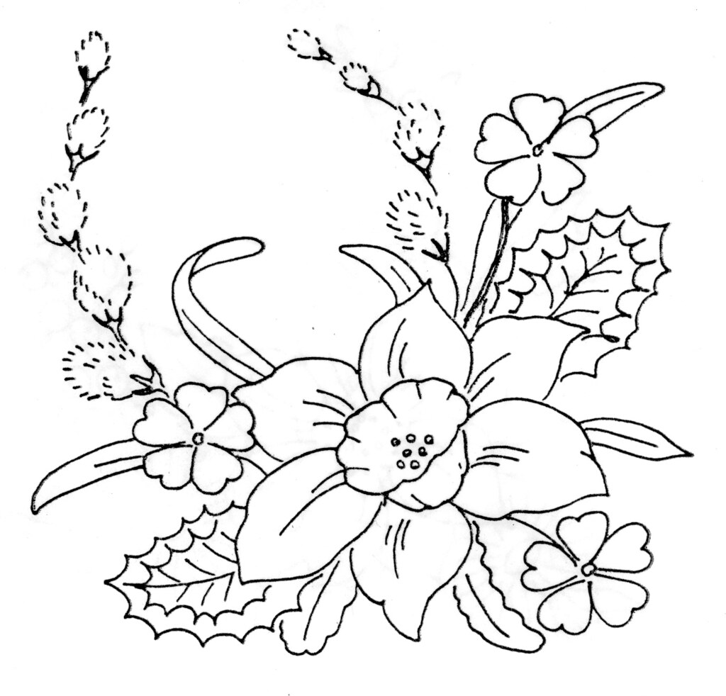 free daffodil coloring page