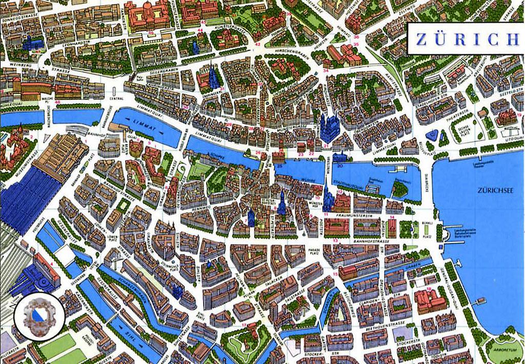 Zurich plan du centre ville alain michot for Piscine zurich