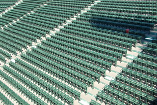 Fenway Park Tour, Opening Day (-Eve) 2009: Outfield bleachers, and Ted Williams' lone red seat | by Chris Devers