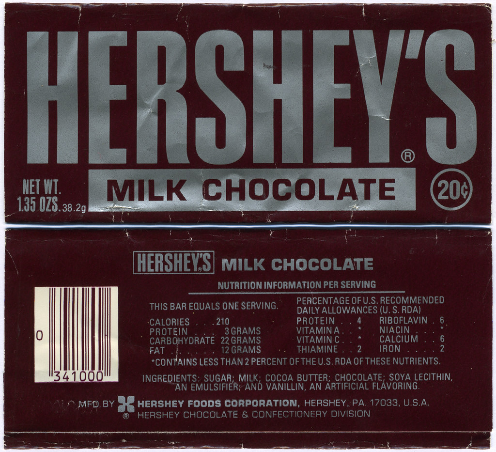hershey bar wrapper