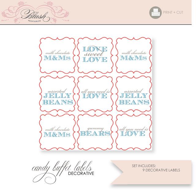 Printable Candy Buffet Labels | www.etsy.com/shop/blushprint ...