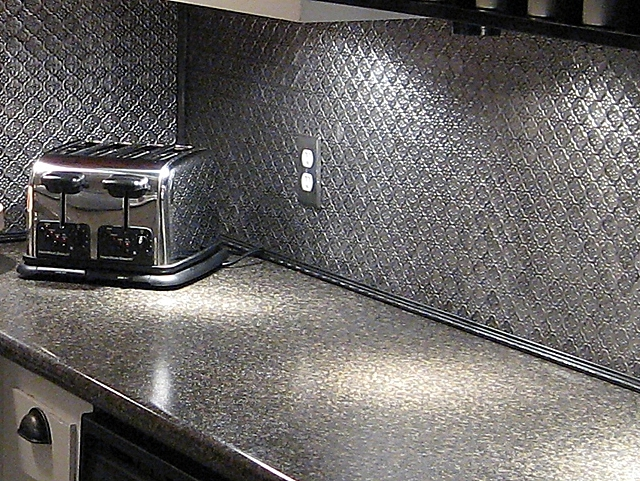 Faux Tin backsplash roll Brushed Nickel Talissa Decor Flickr