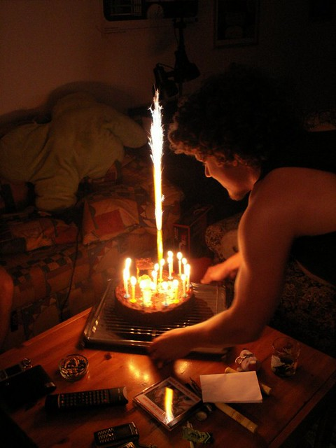 Big Birthday Cake Sparkler And Candles On Cake Www