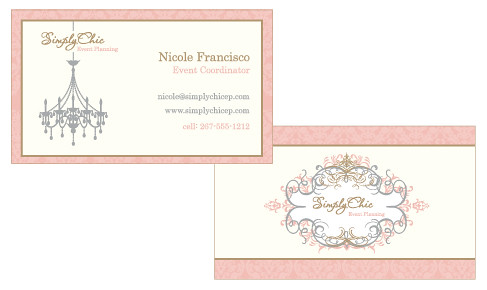 Simply Chic Event Planning Business Cards Personal
