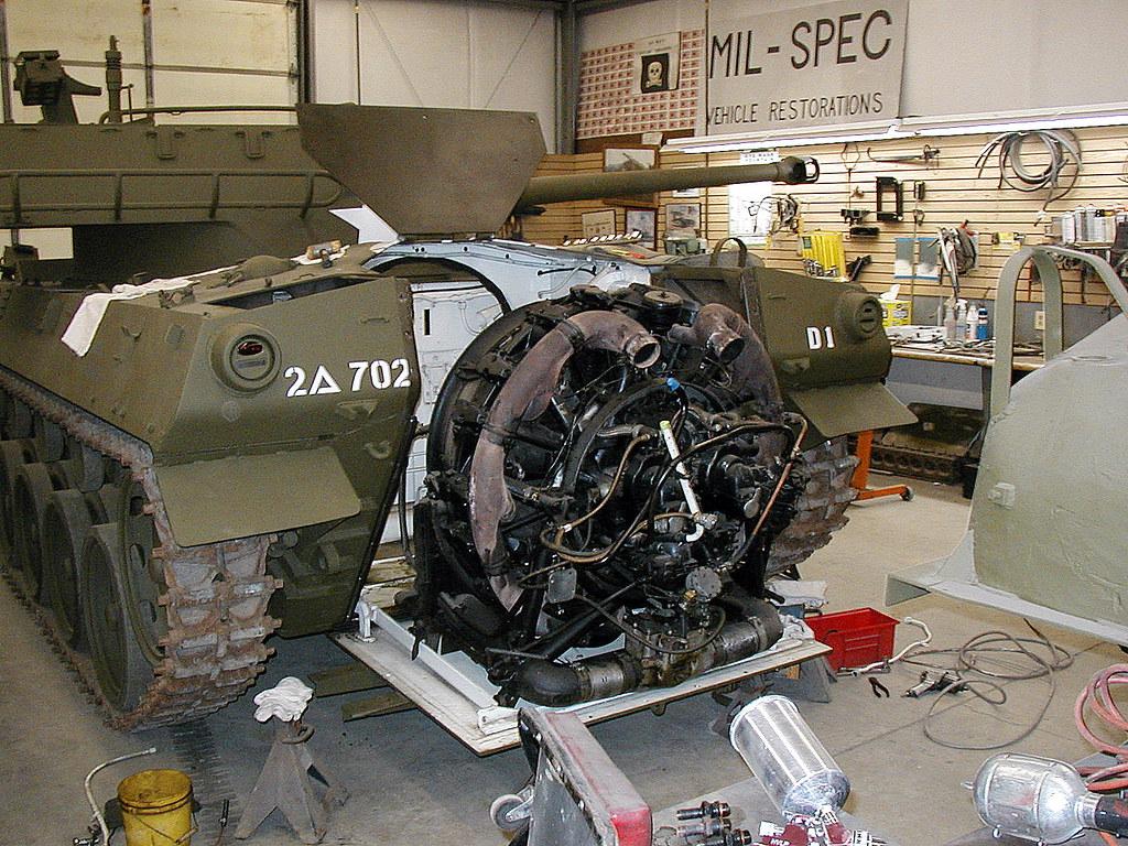 pulling the engine on a ww2 m18 hellcat m