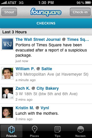 Amazing amazing use of @foursquare from the @WSJ. Well done. | by dpstyles™