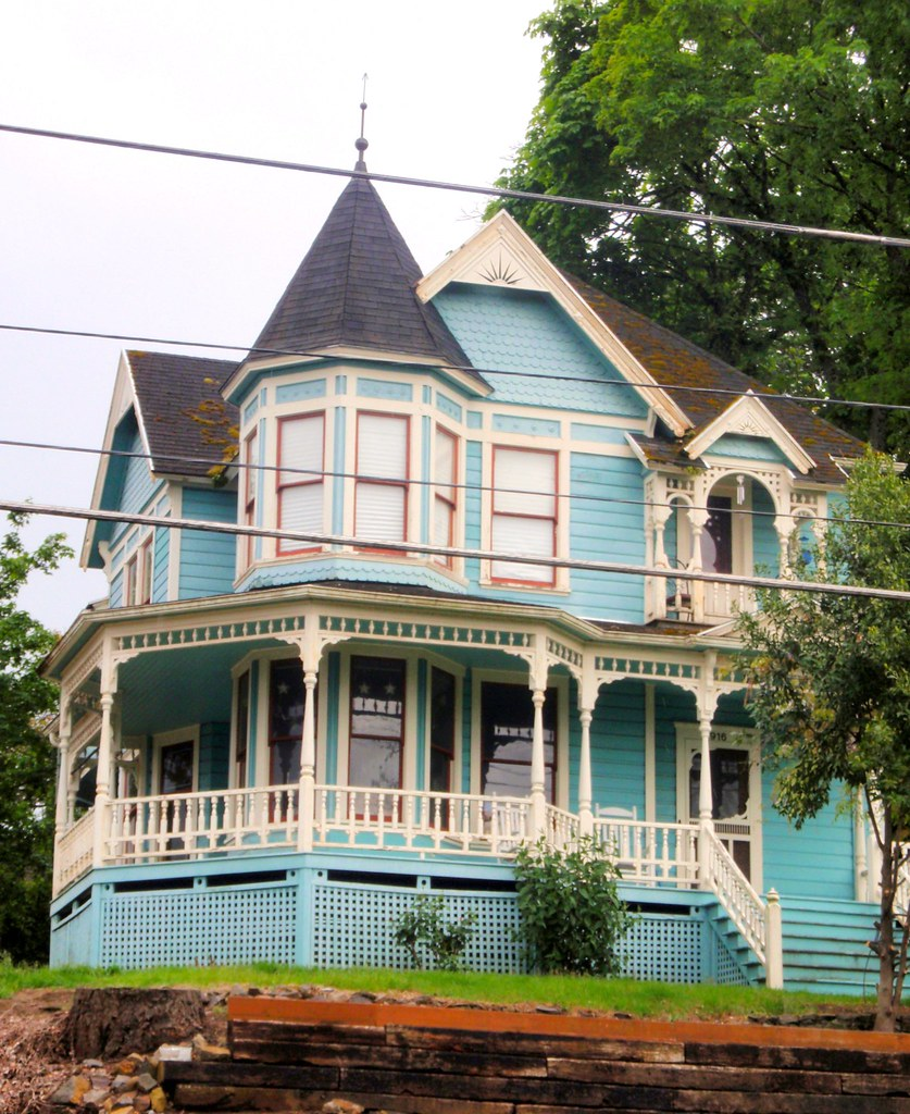 Blue queen anne victorian charles huntley historic house 2 for Queen anne house plans with turrets