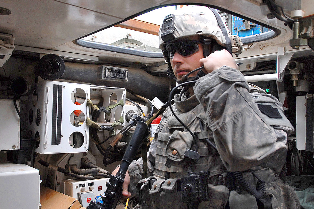 Radio Check U S Army Staff Sgt Bert Finland Checks His