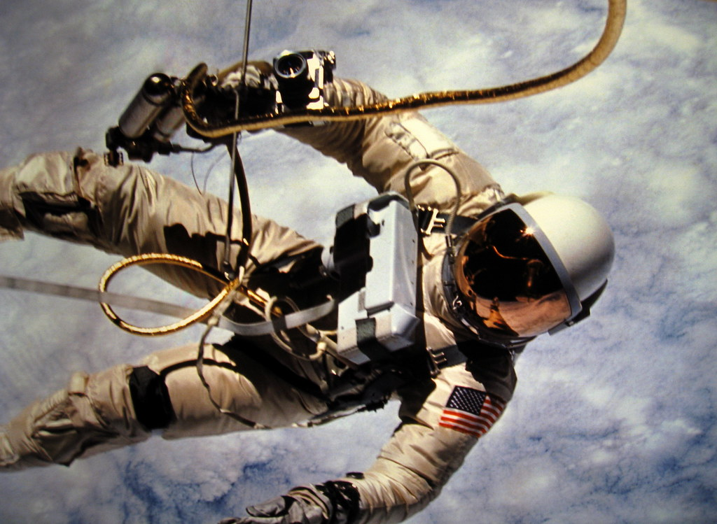 Edward White spacewalking in earth's orbit during the Gemi ...