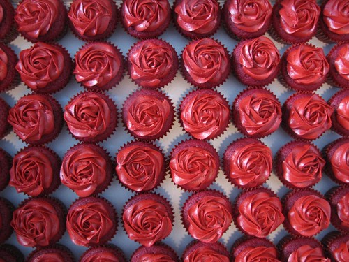 red rose cupcakes red velvet cupcakes in red liners