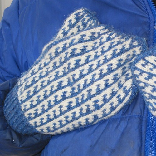 Magnificent Mittens blue/white | by aufildesjours