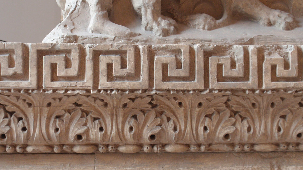 Greek key and acanthus leaf patterns stone carved patter