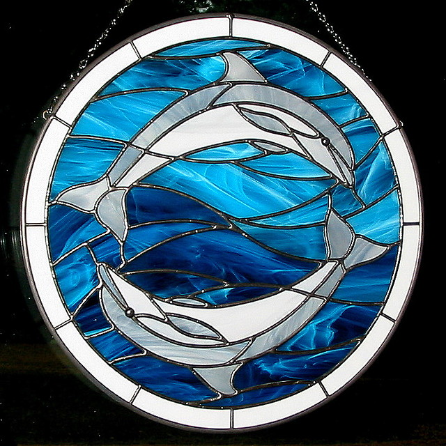 Stained Glass Yin Yang Dolphins This Piece Depicts The