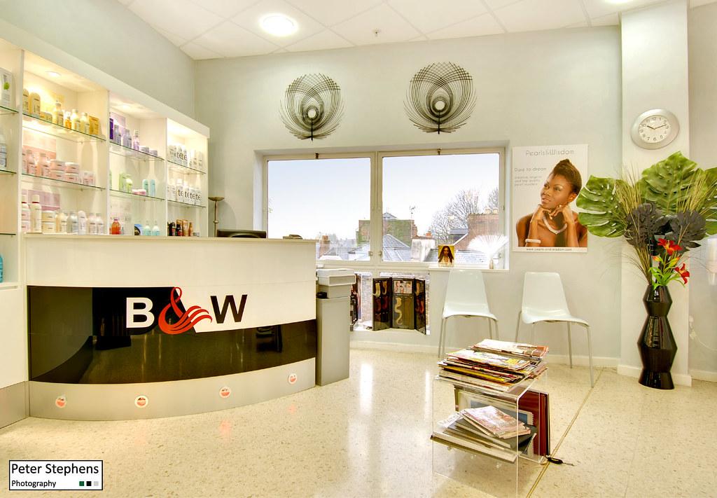 Black and white hair salon reception b w hair salon for R b salon coimbatore