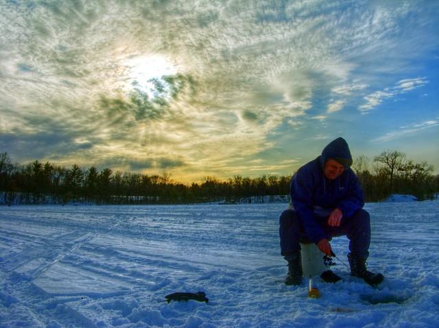 Ice fishing island lake state park michigan ice for Ice fishing michigan