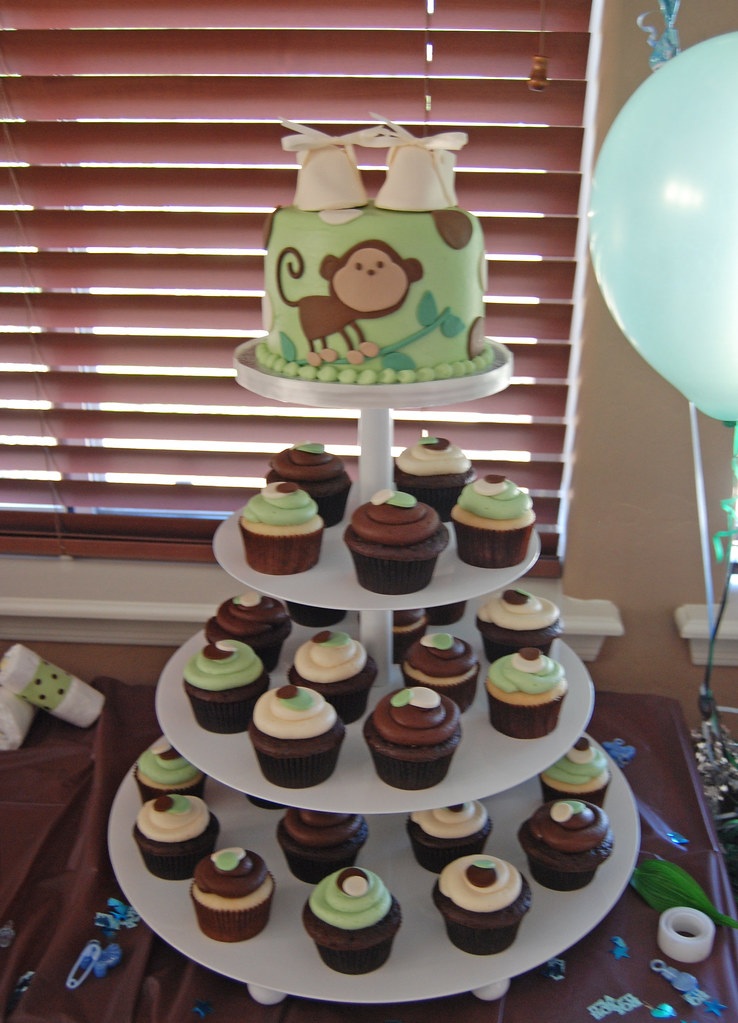 Monkey Baby Shower Cakes And Cupcakes