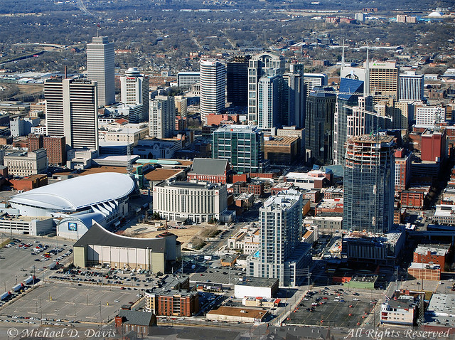 Nashville Aerial From The Southeast And Over The Top Of