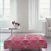 Modern feminine fabric: Pink damask velvet + modern ottoman + white living room