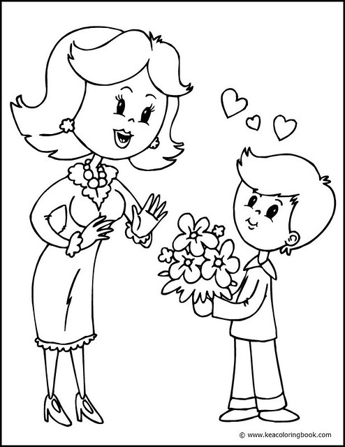 Mother and son coloring page this sweet coloring page for Mom and child coloring pages