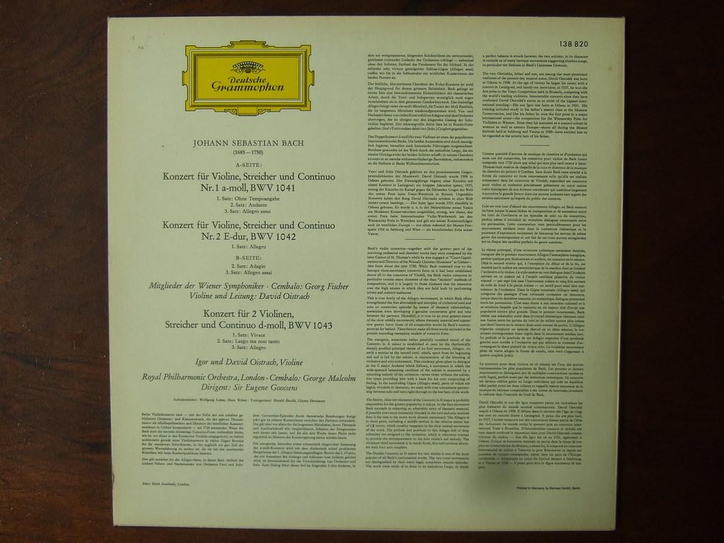 Bach David Oistrach Wiener Symphoniker Violinkonzerte Nr 1 A moll Und Nr 2 E dur