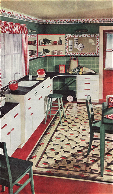 1945 Kitchen With Congoleum Rug Congoleum Gave Armstrong