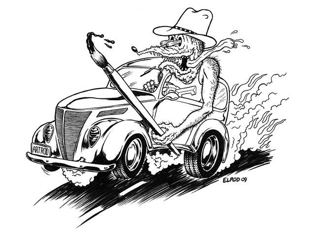 Rat Fink ink drawing for Greg