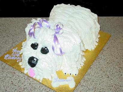 Puppy Shaped Birthday Cake