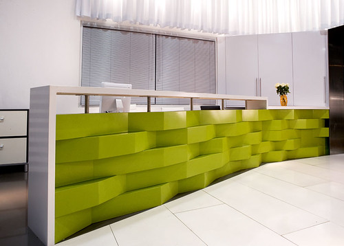 Caesarstone 39 s san francisco showroom apple martini used for Cool office reception