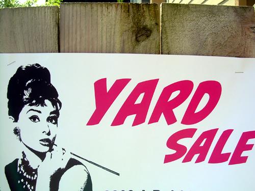 glamorous yard sale sign