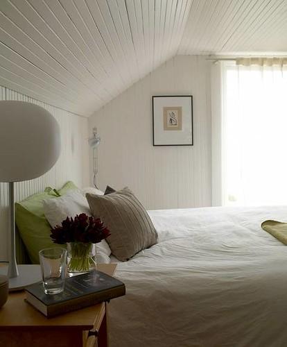Lovely White Bedroom White Beadboard Modern Lamp Gree