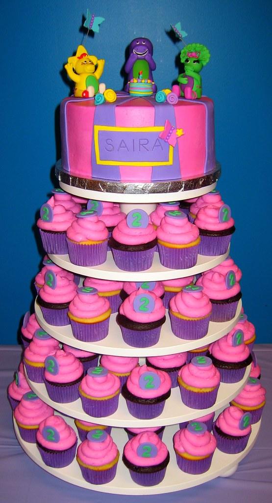 Barney Cupcake Cake