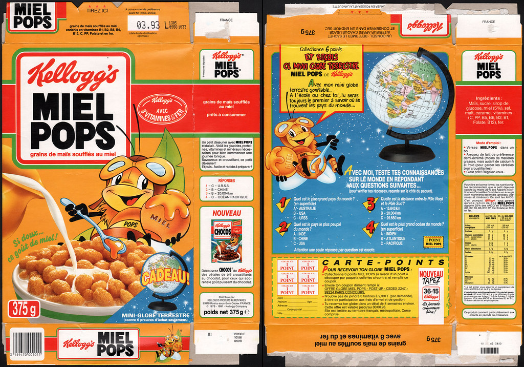 New Country Mini >> France - Kellogg's Miel Pops cereal box - 1992   Don't know …   Flickr