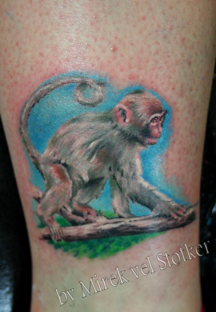 Baby monkey tattoo by mirek vel stotker stotker flickr for Baby monkey tattoos
