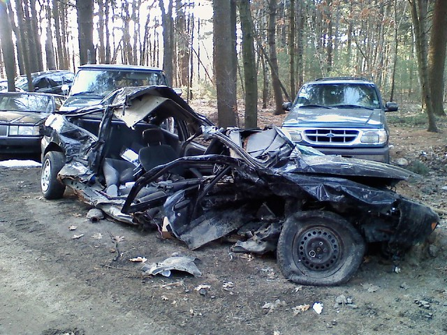 Wrecked Chevy Cavalier High Speed Into A Hard Object