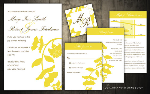 Yellow and Brown Wedding Invitations | Flickr - Photo Sharing!