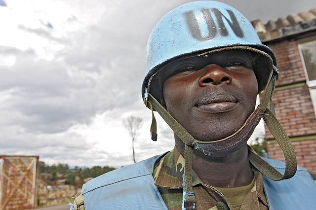 A United Nations Operation in Burundi peacekeeper in front of the demobilisation center in Gitega Burundi.