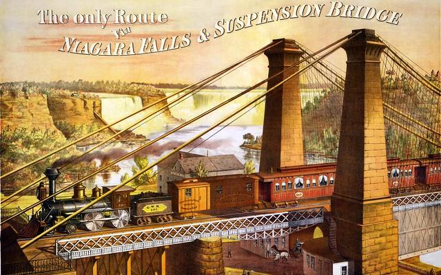 Painting niagara train suspension bridge flickr for Trodel mobel